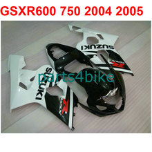 Moto gsxr 600 Fairing kit For Suzuki 750 2004 2005 04 05 (White decal balck) fairings free decal design m24