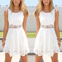 Women Summer Fashion Lace Floral HolidayTunic Flared Mini Dress New Arrival