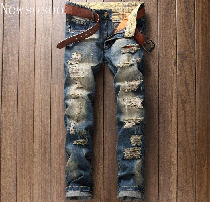 2017 European American Style fashion brand mens jeans luxury Men straight denim trousers hole zipper Slim blue jeans for menÎäåæäà è àêñåññóàðû<br><br>