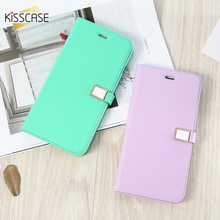 KISSCASE Flip Case For iPhone 5S 5C 4S case Candy Color Leather Case For iphone 6 Cases For iPhone 7 7 Plus Wallet Card Slot