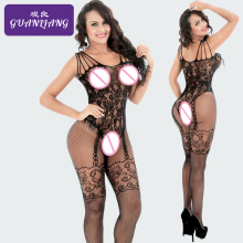 Buy Plus Size Mesh Body Stocking Open Crotch Sexy Lingerie Hot Body Stockings Women Erotic Mask Fishnet Lace Bodysuit lingerie