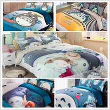 blue Totoro reactive print bedding sets twin queen king size duvet/quilt/comforter covers pillow shams for children home decor(China)