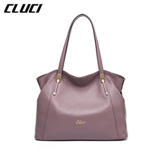 CLUCI Women Handbag Real Genuine Leather Fashion Black/Blue/Red/Purple/Grey Luxury Zipper Top-handle Handbags Soft Shoulder Bags