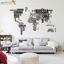 creative letters world map wall stikers home decorations office living room zooyoo95ab adesivo de parede pvc decals mural art(China)