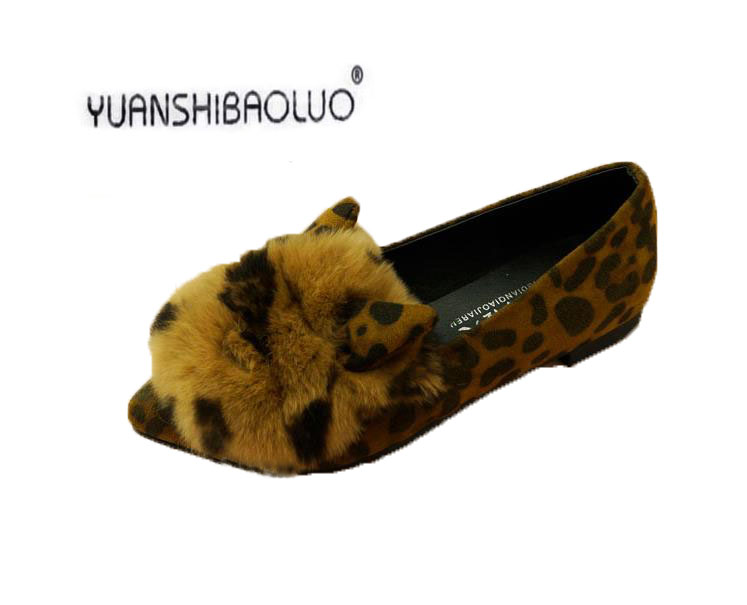 2017 Korean Rabbit Ears In Autumn And Winter Really Shallow Mouth Mao Pointed Shoes Plus Furry Doug Shoes Ladies Shoes<br><br>Aliexpress