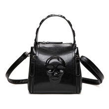 Black Skull Bags Clutch Women Handbag PU Embossed Leather Tote Vintage Retro Cranium Lady Skeleton Shoulder Bag Bolsa De Caveira(China)