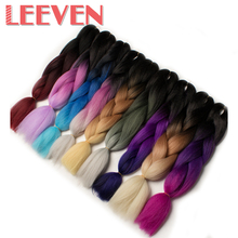 Leeven 24''100g synthetic long straight braiding hair ombre crochet DIY  braids hair extension High Temperature Fiber 1piece