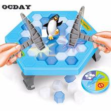 OCDAY Ice Breaking Save The Penguin Puzzle Table Games Balance Ice Cubes Knock Ice Block Paternity Interactive Family Funny Toys(China)