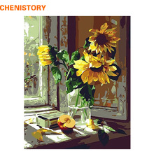 CHENISTORY Flower On The Window DIY Paint On Canvas Painting By Numbers With Framed Acrylic Paint Kit Oil Painting Home Decor
