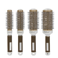 Hair Salon Styling Temperature Color Change Ceramic Iron Radial Round Hairdressing Barrel Curler Brushes Comb Hot