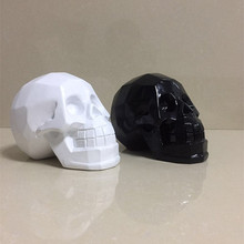 Halloween decorations black and white resin skull head Geometric Origami Creative Skeleton Decoration(China)