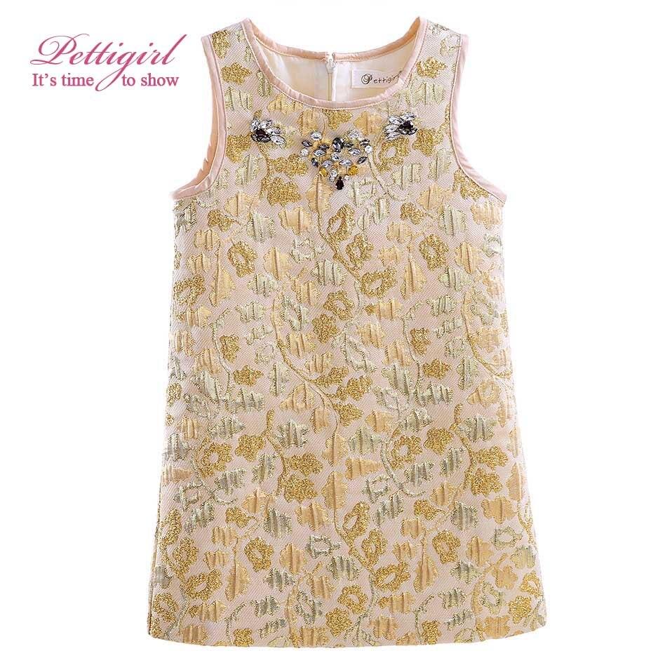 Pettigirl Golden Dress Girl Veil Silk Diamond Summer Dresses Kids Clothes for Girl GD90325-726F<br><br>Aliexpress