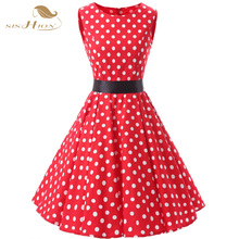Buy SISHION 2017 New Pretty Red Dress Plus Size Women Clothing Sleeveless Polka Dot Retro Casual Rockabilly Vintage Dresses VD0140 for $29.44 in AliExpress store