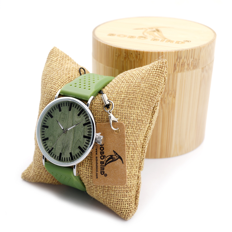 BOBO BIRD New 2017 Designer Men's Watches Wood Watch with Green Dial And Soft Slicone Band Best Wristwatch for Men and Women(China)