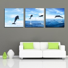 Three board map canvas print seascape painting Dolphins poster artist reside adornment canvas panting flowers wall decorative ar