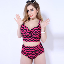 Plus Size Women's Tankinis Set Swimsuit High Waist Stripped Large Size Bathing Suits Ladies Big Breast Swimwears XX-330