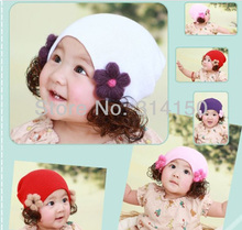 Baby Girl Flower Caps Children Wig Knitted Beanies Hats Girl Winter/Spring Caps Baby Accessories Hats 1pcs(China)