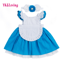 Kids 1-6 T Dress 2017 New children's clothing Alice Cinderella Dresses White Blue Bow Baby Girls for Kids Princess Party Clothes(China)
