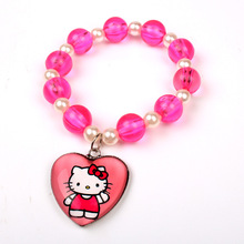 12pcs/lot Hello Kitty Acrylic Clear Red Beads Bracelet With Heart Pendant Charm For Kids Birthday Festival Gift Favor