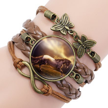 Vintage Horse Picture Bronze Leather Butterfly Charms Infinity Wrap Bracelets Bangles For Women Girls Braided Wristband Bracelet(China)