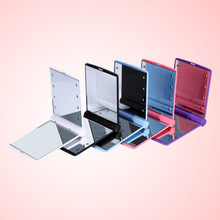 Hot Sell Lady Makeup Mirror Cosmetic Mirror with 8 LED Lights Portable Folding Compact Pocket Led Mirror Lights Lamps 5 Colors(China)