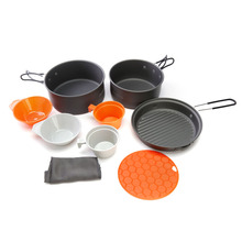 ALOCS 2-3 People Outdoor Cooking Set 9Pcs Cookware Pot Pan Bowl Cup Portable Outdoor Cookware Camping Picnic Hiking Utensils(China)