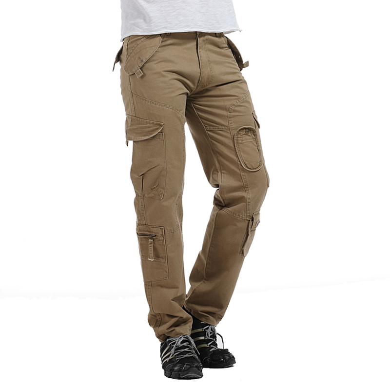 Hot Spot High-End Mens Heavy Multi-Pockets Cargo Pants Overall Full-Length Military Style Loose Plus Size Mens Casual TrousersÎäåæäà è àêñåññóàðû<br><br>