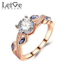 Leige Jewelry Moissanite Rings Rose Gold Wedding Engagement Leaf Rings for Women Round Cut Gemstone Delicate Fine Jewelry(China)