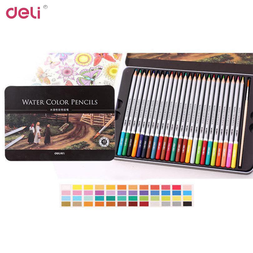 Deli 36 Colors/Pack Water Color Pencil With Box Student Pencils Painting Colorful Watercolor Pen Student Supplies Painting 40D65<br>
