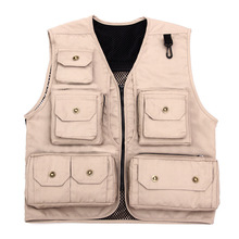 Multi Pocket waistcoat beige color Photographer director reporter outdoor worker advertising fishing men's canvas vest free(China)
