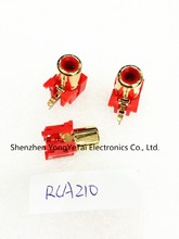 RCA socket Cinch seat audio signal Block AV stereo jack plug red gilt RCA210 free shipping