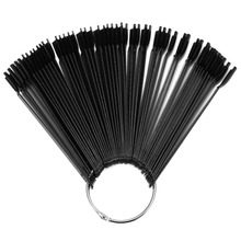 50Pcs/Bag Black Sector Nail Art Showing Shelf Fan False Nail Tip Stick Palette Swatch Manicure Polish Gel Display Practice Tools
