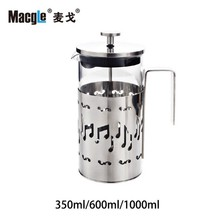 FREE SHIPPING MACGLE High Grade Stainless Steel Coffee Pot French Press Pot Creative Tea Tools Tea Espresso Percolator Stove Pot