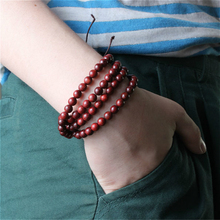 108 pcs  African Red Sandalwood Prayer Beads Buddhist  Mala Buddha Bracelet Rosary Wooden Bangle Jewelry