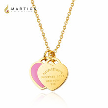 Martick 316L Stainless Steel Gold-color Pink Green Double Heart Pendant Link Chain Necklace Fashion Jewelry For Women P2(China)