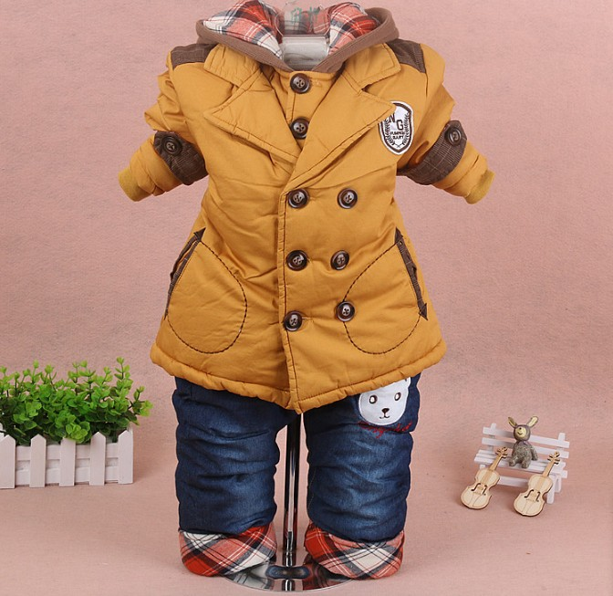 new 2017 winter baby boy letter cotton-padded thicken warm fleece inside coat jeans clothing sets 2pcs <br>