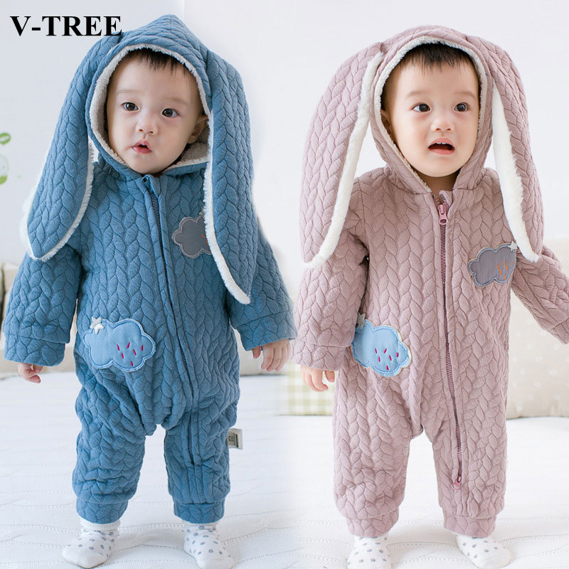 V-TREE Cotton baby rompers hooded bebe clothes Rabbit ears newborn baby clothing Winter jumpsuit infant costumes<br><br>Aliexpress