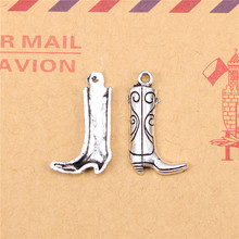 35pcs Tibetan Silver Plated western cowboy boots Charms Pendants for Jewelry Making DIY Handmade Craft 23*13mm