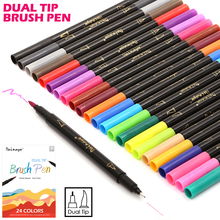 Premium 24 Colors/Box Dual Tip Art Marker Pen Water based 0.4 mm Fine Tip with 1-2mm Soft Brush Tip Markers for Sketch Drawing