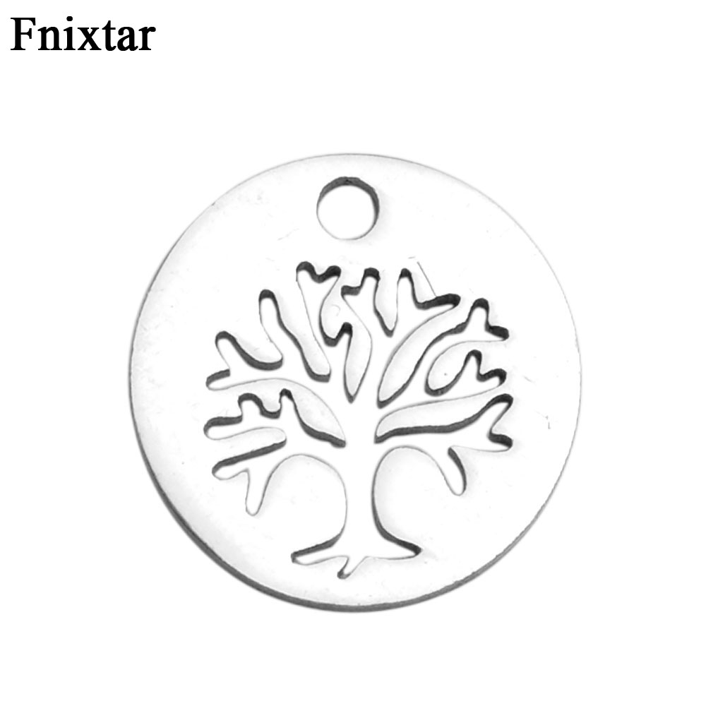 Fnixtar Never Fade Stainless Steel Pendant Charms Women Bracelet Jewelry Making High Life Tree Mini Charms 20pcs/lot