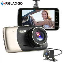 "Relaxgo New 4"" Mini Car DVR Dual Lens Video Recorder Parking Car Camera Full HD 1080P WDR Dash Cam Night Vision Auto Black Box"