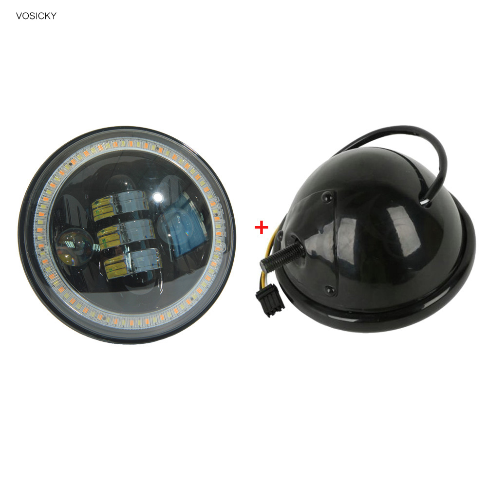 VOSICKY 5.75 Inch Led Headlight Housing for Harley Davidson motorcycle with h4 led Daymaker 53/4 50w  black motor angel eyes<br>
