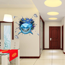 Water Proof 3D Cartoon Shark Brake Wall Into Sticker  for Glass Bathroom PVC Mirror Surface Wall Sticker