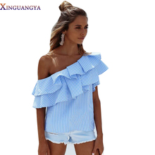 T-shirt female New 2017 Summer Ruffle Striped Blue&Pink Off Shoulder Summer Fashion Tees Women's Tops Ladies T-shirts Clothing