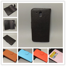 for HTC Desire 526 D526 526G Lichi Texture Leather Case Pouch Flip case with 2 Card Holder and pouch slot