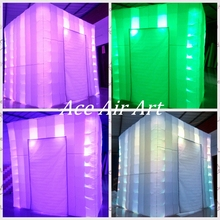 8ft L* 8ft W *8ft H custom advertising rgb led inflatable Tent Ligthing Inflatable Booth for Sale