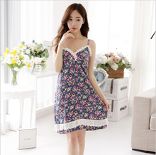 women han edition spring and summer new cotton bud silk nightgown broken beautiful lovely princess leisurewear women pajamas