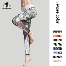 [AP] Newset 3D Print Yoga Pants High Waist Compression Wide Waistband Quick Dry Striped Workout Sport Leggings Fitness Apparel