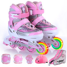 only front wheel flashing B12 sizeS Children's full set of single-row roller skates adjustable code scalable flash wheel shoes(China)