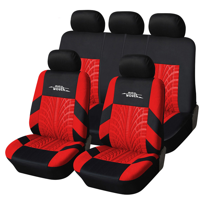 AUTOYOUTH-Red-Tire-Track-Detail-Style-Polyester-Fabric-Universal-Car-Seat-Covers-Set-Fits-Most-Brand
